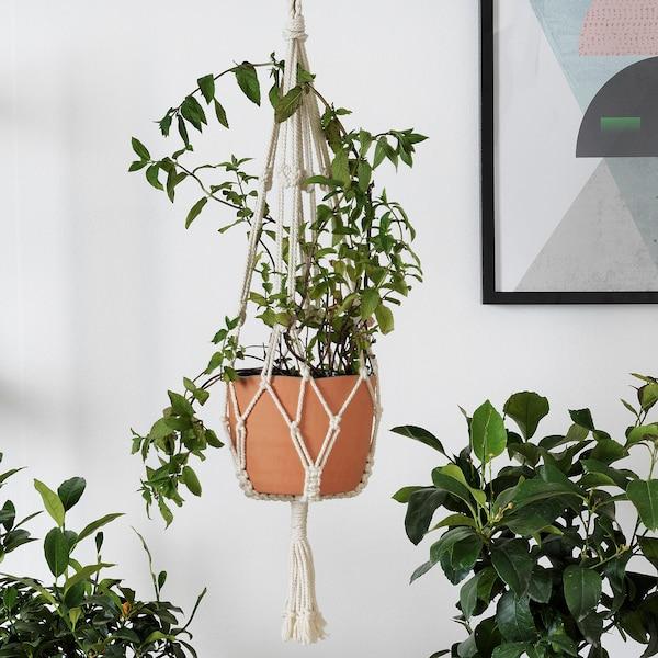 BOTANISK Support pot de fleur, beige fait main