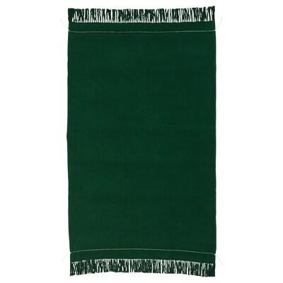 BOTANISK plaid vert foncé fait main 170 cm 110 cm