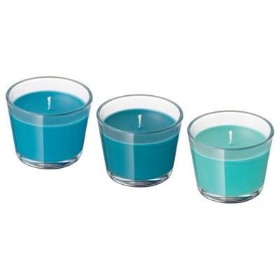 BRÄCKA Bougie parfumée dans verre, Noix de coco/turquoise