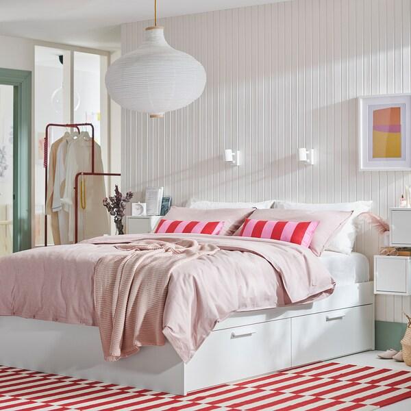 BRIMNES Cadre lit avec rangement, blanc/Leirsund, 140x200 cm