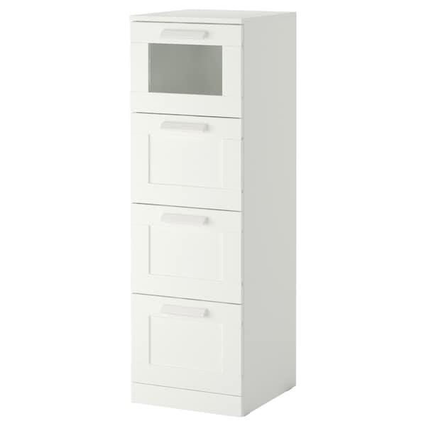 BRIMNES Commode 4 tiroirs, blanc/verre givré, 39x124 cm