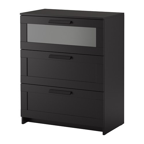 brimnes commode 3 tiroirs noir verre givr ikea. Black Bedroom Furniture Sets. Home Design Ideas