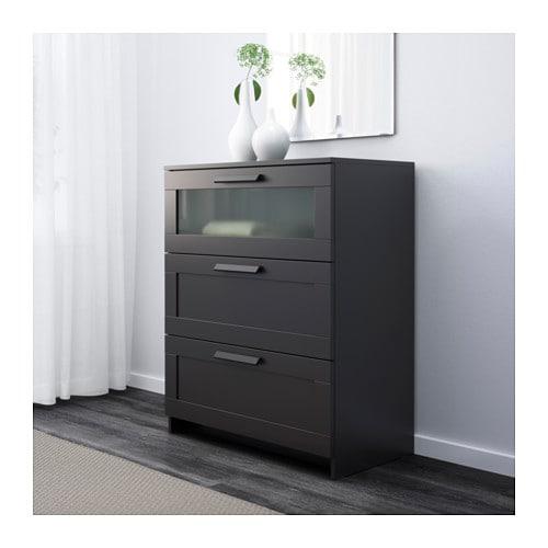 brimnes commode 3 tiroirs noir verre givr ikea. Black Bedroom Furniture Sets. Home Design Ideas