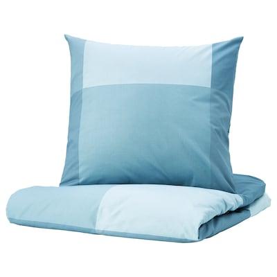 BRUNKRISSLA Housse de couette et 2 taies, bleu clair, 240x220/65x65 cm