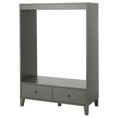 BRYGGJA Armoire ouverte, gris foncé, 120x173 cm