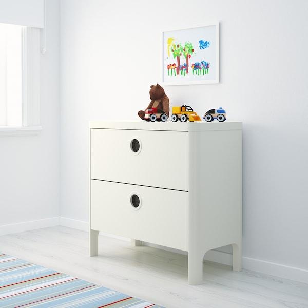 BUSUNGE Commode 2 tiroirs, blanc, 80x75 cm