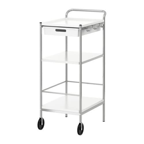 BYGEL Table roulante IKEA La partie supérieure de la desserte est réversible et peut s'utiliser comme plateau.