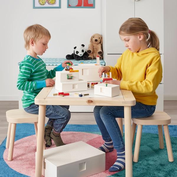 BYGGLEK Boîte LEGO® avec couvercle, blanc, 26x18x12 cm