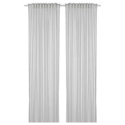 BYMOTT Rideaux, 2 pièces, blanc/gris clair rayé, 120x300 cm
