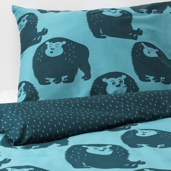 DJUNGELSKOG housse de couette et taie singe/bleu 200 cm 150 cm 65 cm 65 cm
