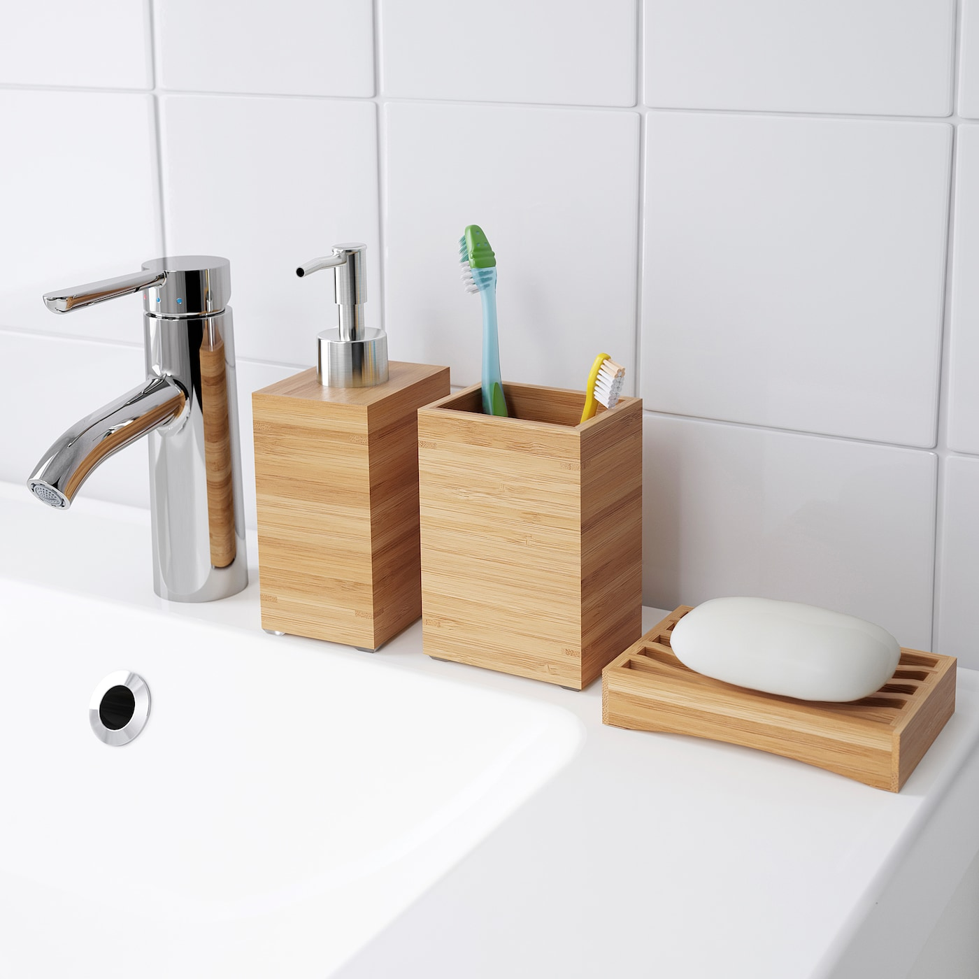 IKEA dRAGAN porte-brosses /à dents en bambou