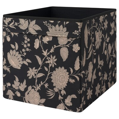 DRÖNA Rangement tissu, à motif floral beige/noir, 33x38x33 cm