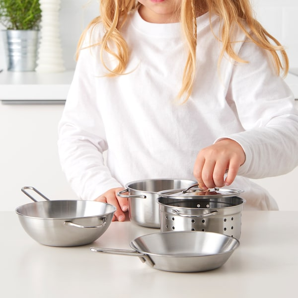 DUKTIG ustensiles cuisson enfant, 5 pièces couleur acier inox
