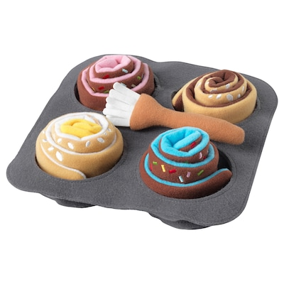 DUKTIG Gâteaux roulés en peluche, 6 pièces, cannelle/petit pain