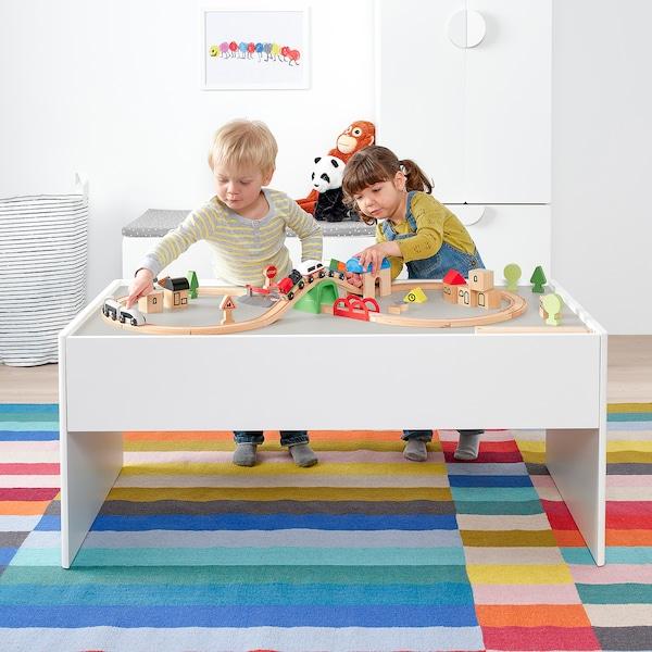 DUNDRA Table de jeu avec rangement, blanc/gris