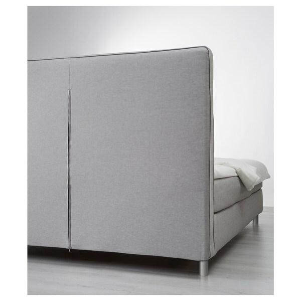 DUNVIK Lit/sommier, Hövåg ferme/Hornnes gris clair, 140x200 cm