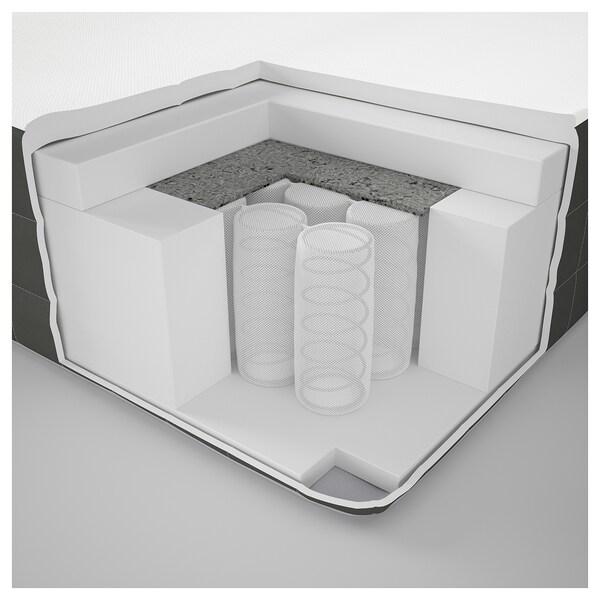 DUNVIK Lit/sommier, Hövåg mi-ferme/Hornnes gris clair, 140x200 cm