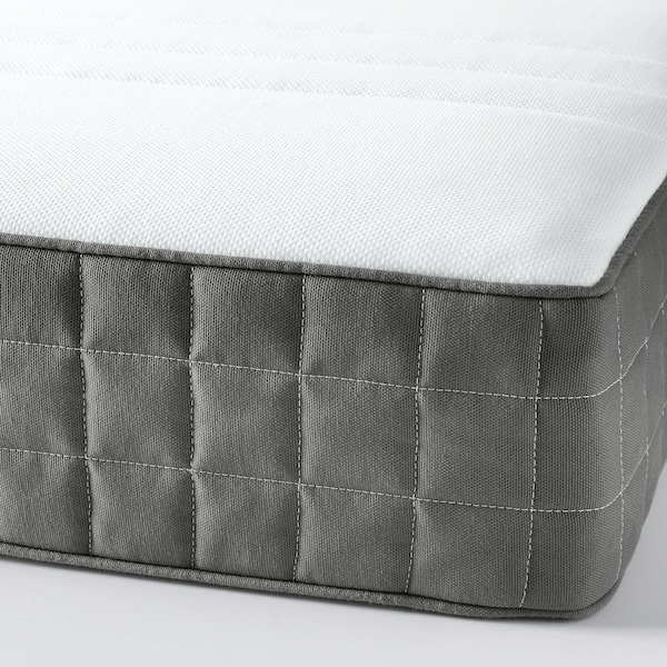 DUNVIK Lit/sommier, Hövåg mi-ferme/Tuddal gris clair, 140x200 cm