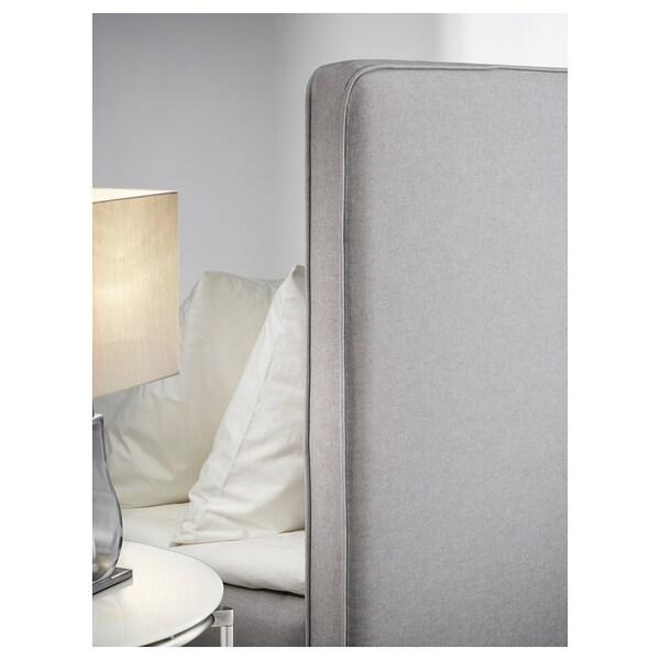 DUNVIK Lit/sommier, Hövåg mi-ferme/Tussöy gris clair, 180x200 cm