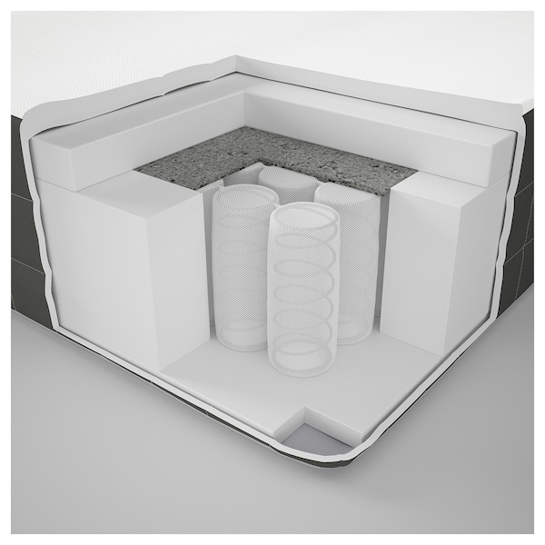 DUNVIK Lit/sommier, Hövåg mi-ferme/Tussöy gris clair, 140x200 cm