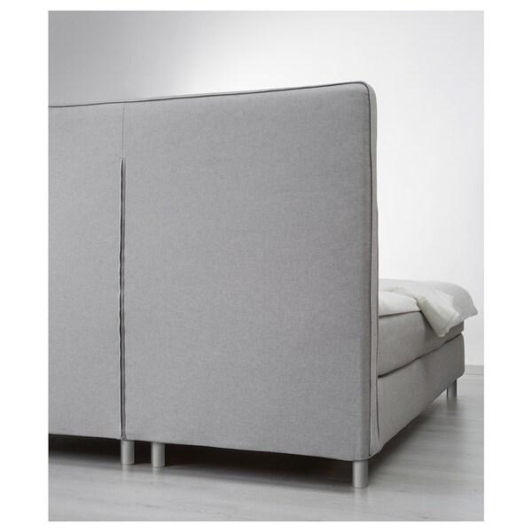 DUNVIK Lit/sommier, Hokkåsen mi-ferme/Tustna gris clair, 160x200 cm