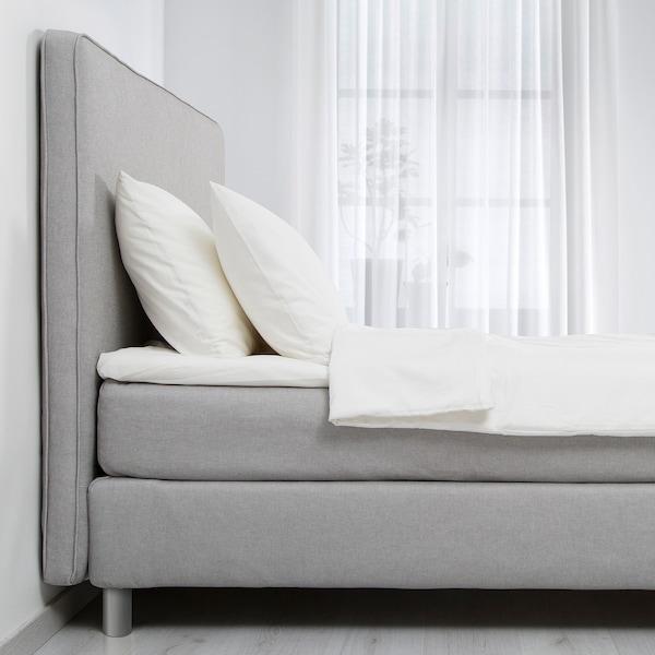 DUNVIK Lit/sommier, Hyllestad mi-ferme/Tustna gris clair, 160x200 cm