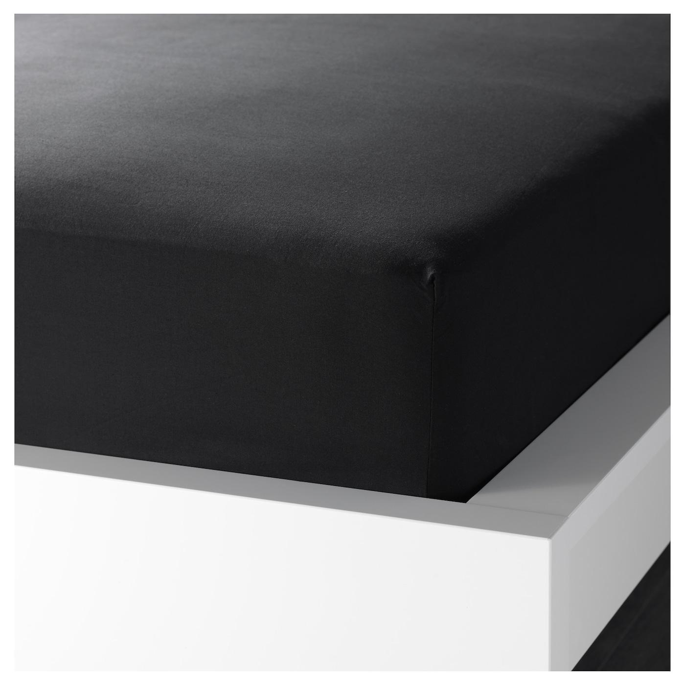 Drap housse, noir, 80x200 cm ○ DVALA - IKEA