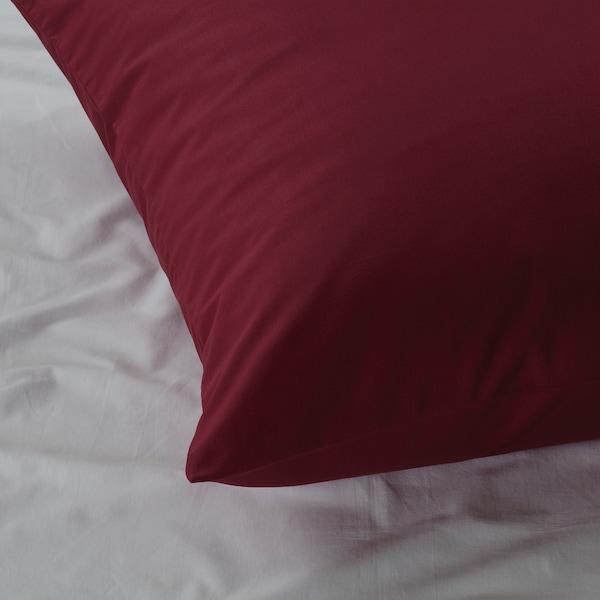 DVALA Taie d'oreiller, rouge foncé, 65x65 cm