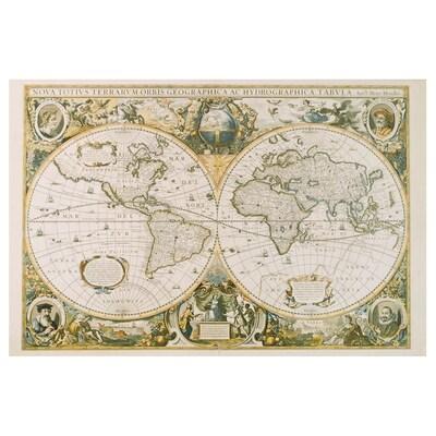 EDELVIK Image, carte du monde vintage, 61x91 cm