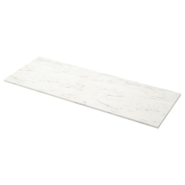 EKBACKEN Plan de travail, blanc marbré/stratifié, 246x2.8 cm