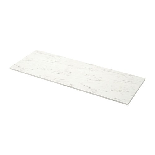 Ekbacken plan de travail sur mesure blanc marbr stratifi 63 6 125x2 8 cm - Plan de travail ikea sur mesure ...