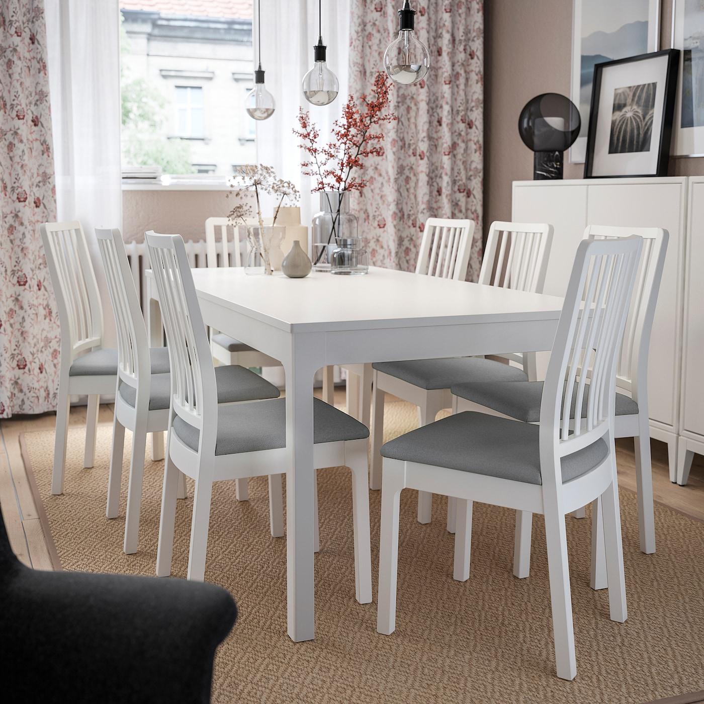 EKEDALEN Chaise, blanc, Orrsta gris clair IKEA
