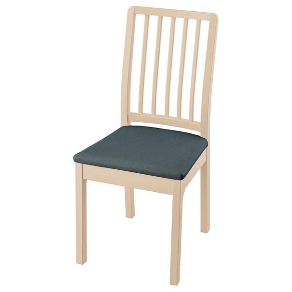 EKEDALEN Chaise, bouleau/Idekulla bleu