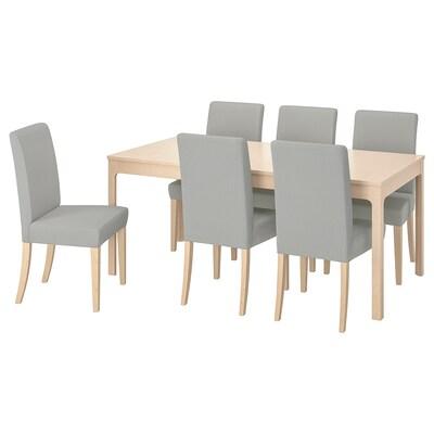 EKEDALEN / HENRIKSDAL Table et 6 chaises, bouleau/Ramna gris clair, 180/240 cm