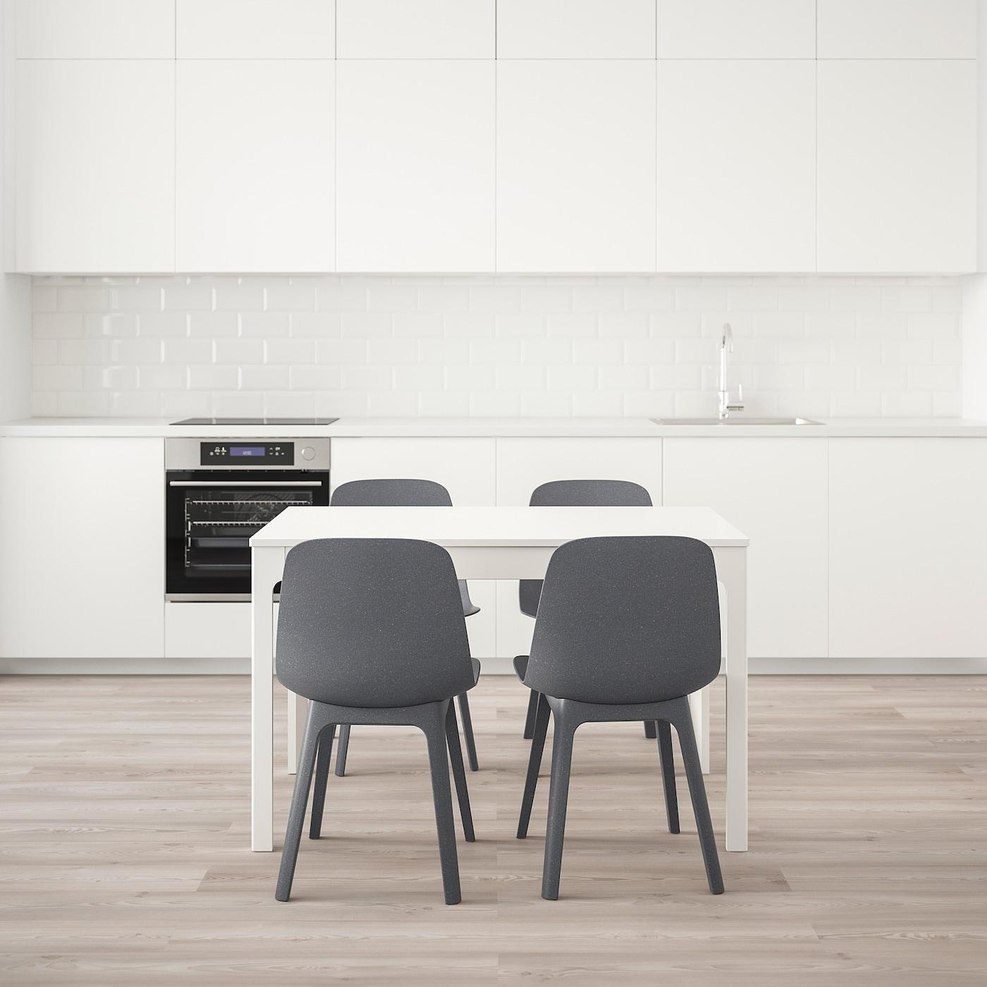 EKEDALEN ODGER Table et 4 chaises chêne, bleu 120180 cm