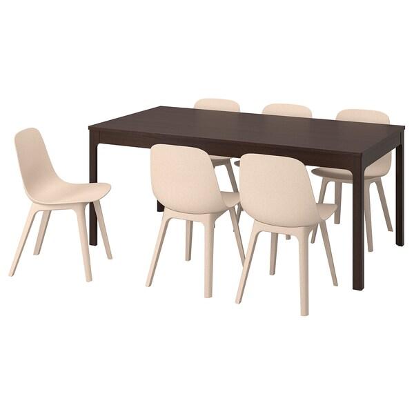 EKEDALEN ODGER Table et 6 chaises brun foncé, blanc