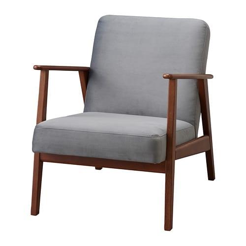 Ekenaset Fauteuil Velours Gris Fonce Ikea