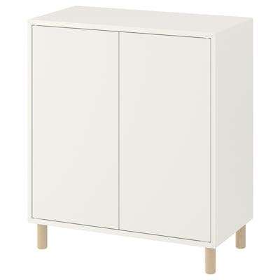 EKET Combinaison rangement avec pieds, blanc/bois, 70x35x80 cm