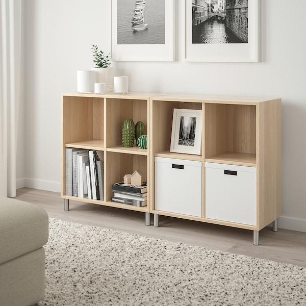 Eket Combinaison Rangement Avec Pieds Effet Chene Blanc Hi 140x35x80 Cm Ikea