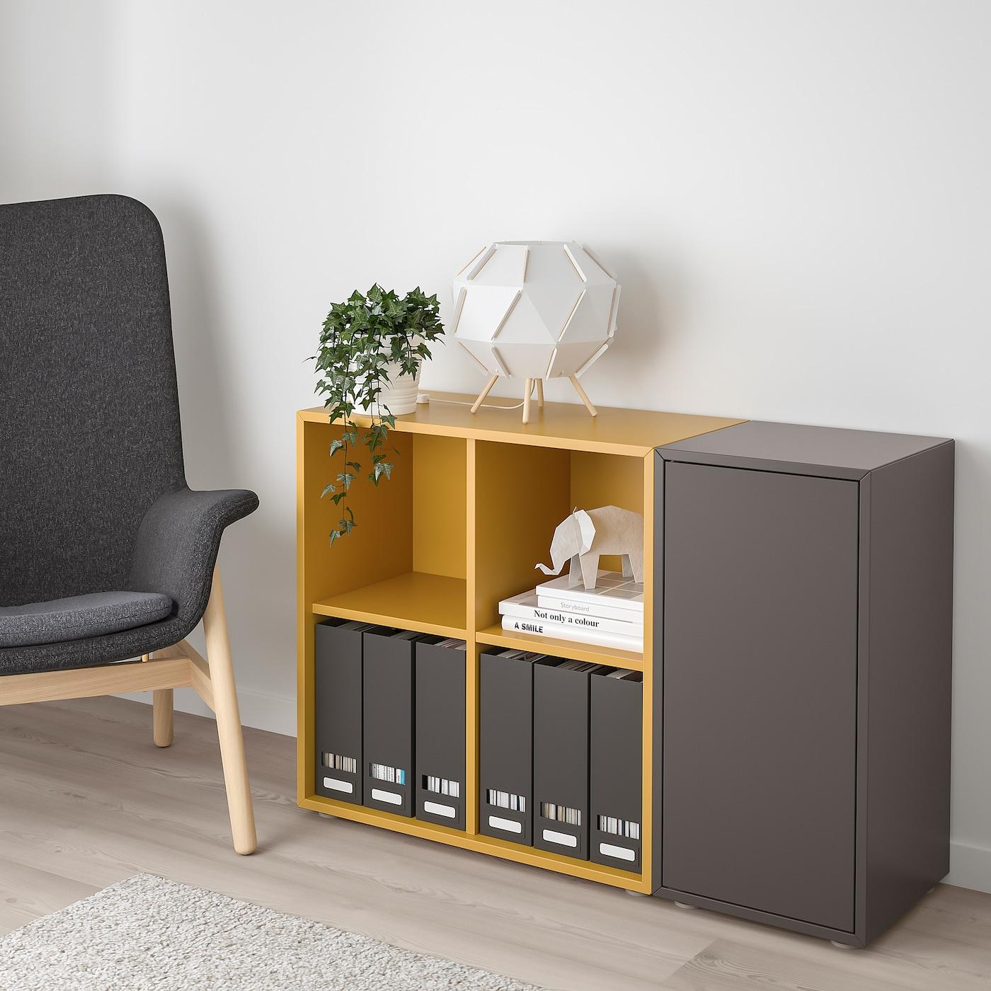 EKET Combinaison rangement avec pieds, gris foncé/brun doré, 105x35x72 cm