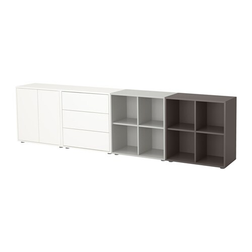 eket combinaison rangement avec pieds blanc gris clair gris fonc ikea. Black Bedroom Furniture Sets. Home Design Ideas