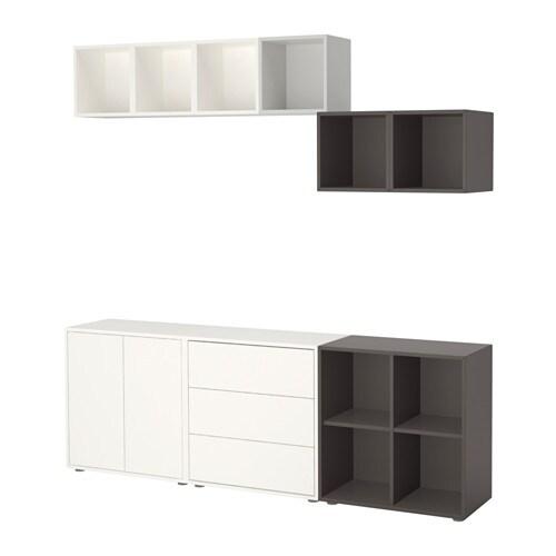 eket combinaison rangement avec pieds blanc gris clair gris fonc ikea. Black Bedroom Furniture Sets. Home Design Ideas