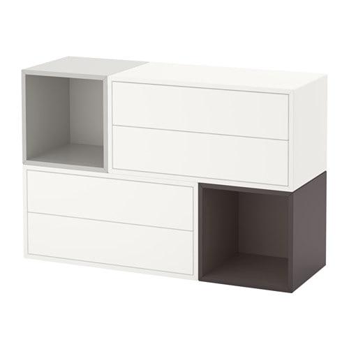 eket combinaison rangement murale blanc gris clair gris fonc ikea. Black Bedroom Furniture Sets. Home Design Ideas