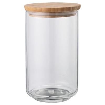 EKLATANT Bocal avec couvercle, verre transparent/bambou, 1.1 l