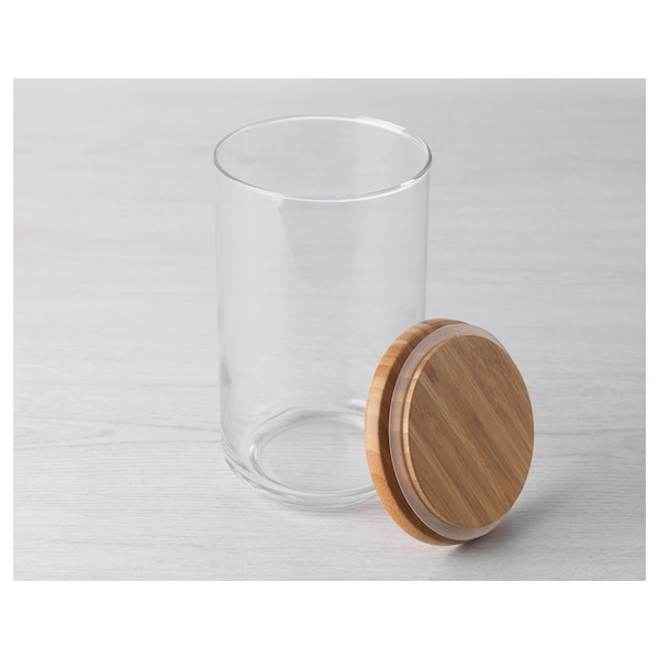 EKLATANT Bocal avec couvercle, verre transparent/bambou, 1.8 l
