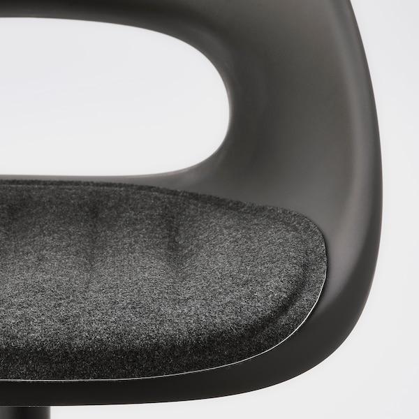 ELDBERGET / MALSKÄR Chaise pivotante avec coussin, noir/gris foncé