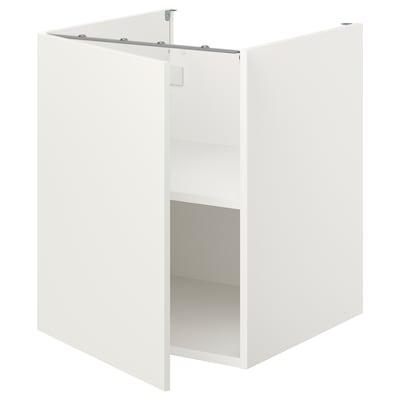 ENHET Élément bas av tablette/porte, blanc, 60x62x75 cm