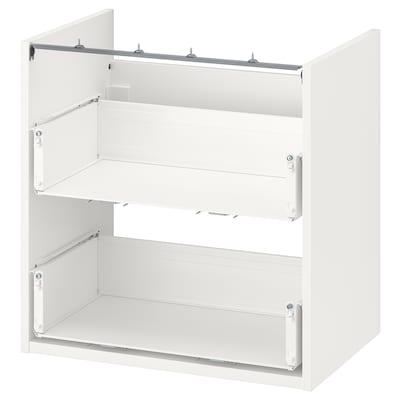 ENHET Élément bas lavabo av 2 tiroirs, blanc, 60x40x60 cm