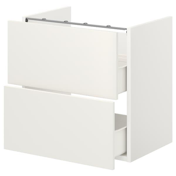 ENHET Élément bas lavabo av 2 tiroirs, blanc, 60x42x60 cm