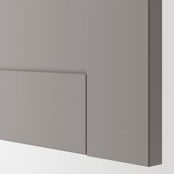 ENHET Élément haut 4 tablettes/porte, blanc/gris avec cadre, 30x32x180 cm